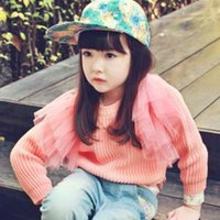 Wholesale Cute Girls Solid Sweater For Winter Hot Arrival Children Tulle Patched Pullover Kids Cotton Clothing Fit Age
