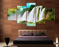 Wholesale 5Pieces Hot Sell Modern Wall Painting Art Picture Home Decorative Paint on Canvas Prints Huge waterfalls in the mountains tree