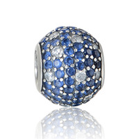 authentic jewellery - authentic sterling silver blue crystal ball charm beads fit European charms bracelets pandora style jewellery No80 X394