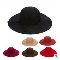 Wholesale Woman Wool Felt Beach Bowknot Hats Lady Vintage Wide Brim Caps Girl Winter Travel Floppy Hats Wool Wide Brim