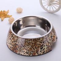 melamine dog bowl - Pet Food Bowl Leopard Pattern Melamine Stainless Steel Dog Bowls High Quality Personalised Dog Bowls Three Size BL002