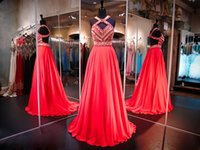 aztec dress - A Line Coral Chiffon Prom Pageant Dresses Aztec Bodice KR Crisscross Straps Sleeveless Open Back Formal Evening Gowns Party Dress