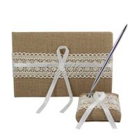 Wholesale 2Pcs set Vintage Burlap Wedding Guest Book Pen Set for Bridal Decoration Product Supplies JZ MBMX