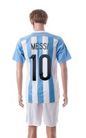 Wholesale 2015 New Season Agentina Home Soccer Jerseys Argentinal MESSI HIGUAIN DI MARIA Soccer Sets Brand Soccer Wear Mens Uniforms