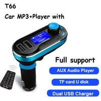Wholesale T66 Car MP3 Player Car Kit FM Transmitter Dual USB Car Charging with Remote Silver Blue