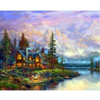 Wholesale Diamond Embroidery Cross stitch Needlework European landscape full Square Drill embroidery Diy Diamond Painting Rhinestone Paste