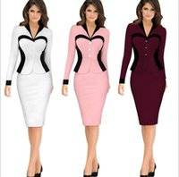 Wholesale Celebrity Slim Prom Dresses - Women vestidos 2016 Women Spring Elegant Lady Sexy Prom Office Dresses V-Neck Fashion Celebrity Pencil Work Party Slim Bodycon OL Midi Dress