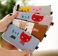 Wholesale Christmas Gift Handmade Bag Hot Cartoon Stripe Cats Pen Pouch Bag Pencil Case Pen Bag Seals168 ZJ B01
