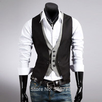 Wholesale Bestitem Men s Dress Vest Waistcoat Casual Blazer Mens False Two Vest Double Breasted Vests Mens Suit Vests