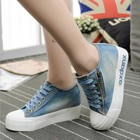 band high school - Korean women increased thick bottom side zipper canvas shoes fall flat leisure denim shoes the new high school students