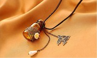 carved animals - Retro fashion jewelry carved daisy Patterns Necklaces Wishing bottle butterfly pendant sweater chain charm pendant women