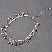 Cheap SILVER tone jingle bell c Anklet Ankle bracelet Chain gypsy tribal 8mm FASHION