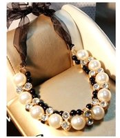 big neckless - Adjustable Black Ribbon Multi Layer Big Pearl Neckless Korea Women Necklace Cheap Costume Jewelry