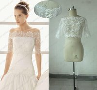 Wholesale Cheap Fall Hot Bridal Wraps Jackets Real Image Sheer Lace Applique Shawl Coats Half Sleeve Bridal Accessories White Ivory