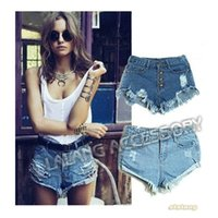 Cheap New Vintage Women Denim Shorts High Waist Retro Destructed Denim Shorts Ripped Frayed Jeans Cutoff Shorts with Hole bz850086