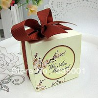 Wholesale Cherry Blossom Wedding Favor Boxes - Free shipping 100pcs lot Cherry Blossom Print wedding Favor Box