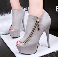 Wholesale Trendy Women High Heel Platform Shoes With Zipper Ankle Boots Ladies Stiletto Heel Pumps Autumn Shoes Size to