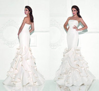 beautiful prom gowns - Beautiful Tarik Ediz Prom Dresses Strapless Sleeveless Backless Evening Gowns Floor Length Tiered Mermaid Prom Dress