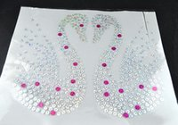Wholesale Big size swan rhotfix sequin motif heat transfer iron on sequins rhinestone iron on transfers