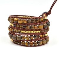 american direct tv - Factory Direct Hot Sale Vogue Top Quality New DIY Simple Style Genuine Leather Bracelelt Tiger Eye Stone Beads Bracelet