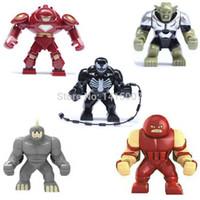 Wholesale 5pcs Super Heroes Avengers Green Goblin Hulk Buster Venom Action Big Lazy Rhino Jernaut Figure Minifigures Building Block Toy