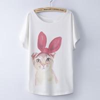 Cheap Bow Cute Cat T Shirt Women Top Tee Best Pink Bow Cute Cat T shirt