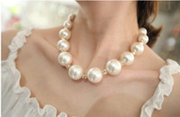 big pearl beads - Exquisite Bridal Pearl Necklace Big White Pearl Beads Necklace High Quality Individual PackageKorean Style