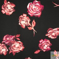Wholesale Filament double cloth printing micro bomb black flowers for spring and autumn fashion women s thick