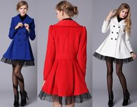 Wholesale Hot Sale New Women Ladies Girls White Blue Black Red Double Breasted Woolen Coats Parka Slim Lace Outwear