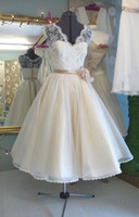 Wholesale New Real Image Short Wedding Dresses Custom V Neck Flower Sash Sleeveless White Ivory A Line Vintage Tea Length Lace Bridal Gowns W1524