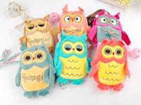 backpacks sling bags - Kawaii Muti Colored Owl Plush Toys Sling Bags Kids Kindergarten Schoolbags Child Letter Embroidered Satchel Cartoon Bags