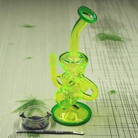 Wholesale 24CM MM bongs Colored glass bong with Dabber Tool Smoke oil box Water pipe Glass Bongs Water Pipes Recycler Filter Percolators Smoking
