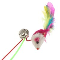 Wholesale Randomly color For Pet Cat Bell The Dangle Faux Mouse Rod Roped Funny Fun Play Playing Toy pc