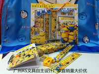 Wholesale 50pcs New Hot Sale Minions stationery set children cartoon pencil cases box best gift for kids Childrens Cartoon Stationery