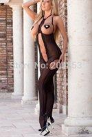 Cheap w1029 Sexy Lingerie black open crocth transparent one piece bodysuit women dress+paster backless sleepwear