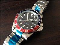 al por mayor bisel azul-marcas de lujo para hombre relojes movimiento automático de acero inoxidable bisel azul rojo R12 reloj de la venda