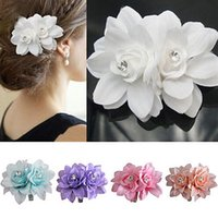 Wholesale Fashion Girl Women Crystal Bridal Wedding Prom Party Flower Clip Pin Hairpin Hair Tools Colors Beauty Accessories