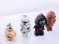 bb chains - 2016 NEW Star Wars Keychain Cartoon StarWars key ring KaiLuoLun Chewbacca BB Stromtrooper rotating key chain gift for DHL