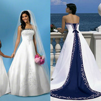 Wholesale Strapless Sleeveless White And Blue Wedding Dresses A Line Satin Arabian Bandage Women Embroidery Court Train Long Bridal Gown VT