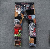 denim jeans - New fashion mens color patchwork washed jeans male personality denim skinny pants mens casual slim jeans