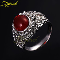 antique rare ring - 010 Promotion Price Retro Style Zinc Alloy Antique Silver Plated Rare Earth Glass Stone Vintage Red Ring For Women Men