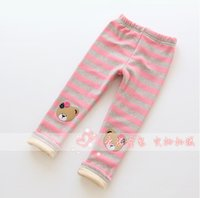 bearing products - Leggings For Girls Winter New Products Children Leisure Pants Thicken Keep Warm Bear Pattern Striped Kids Trousers Age T1449