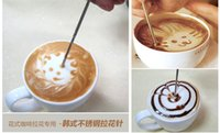 appliance paint - Stainless steel Latte painted flowers crochet needle stick carved fancy coffee appliances garland mold