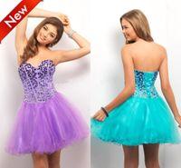 2015 doce Vestidos Homecoming A Linha Querida Backless Bandage Mini comprimento Contas de Cristal lantejoulas Cheap Prom Dress Tulle Partido Vestidos