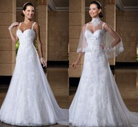 2014 Sheer Bridal Jacket - 2015 Spaghetti Strap Wedding Dresses With Jacket Vintage Sheer Lace Bridal Gowns A Line Chapel Train Applique High Qulaity Wedding Dress