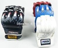 venda por atacado boxing gloves and bag-MMA luvas PU puncionando saco de luvas de boxe preto / branco / vermelho / azul