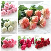 Wholesale 2015 New Styles Artificial Rose Silk Craft Flowers Real Touch Flowers For Wedding Christmas Room Decoration Color Cheap Sale