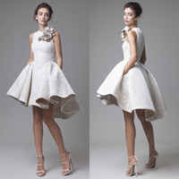 Wholesale High Low Prom Dresses Jewel Neck Sleeveless Krikor Jabotian Evening Gowns A Line Cheap Short Lace Homecoming Dress With Flowers