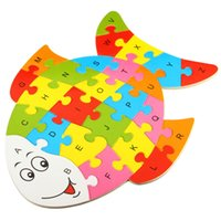 Wholesale 26 set Random Patterns Wooden Puzzle Owl Butterflies Turtle Fish Hippo Children Kids Educational Intelligent Toys