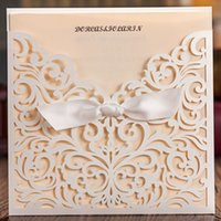 embossed wedding invitations - Delicate Laser Cut Wedding Invitation with Embossed Flora Free Customized Printing Wedding Cards